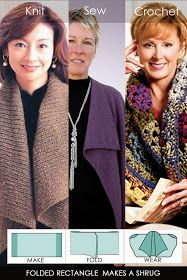 Needlecrafts - Knit,Crochet,Sew - Easy Fold Shrug                      One rectangle, yes just one rectangle folded makes a shawl vest. ...