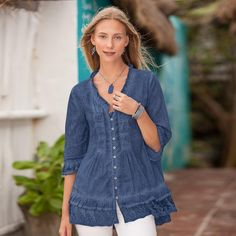 """THISTLEDOWN BLOUSE--Special pigment dye and undulating pintucks create a one-of-a-kind smock-style blouse with ruffles to spare, including embroidered mesh detail around the bottom. Cotton. Machine wash. Imported. Exclusive. Sizes XS (2), S (4 to 6), M (8 to 10), L (12 to 14), XL (16). Approx. 30""""L."""