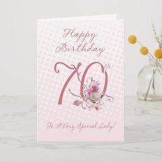 70th Birthday Card, Diy Birthday, Happy Birthday Cards, Birthday Party Invitations, Birthday Wishes, Happy Birthday Quotes For Her, Birthday Cards For Women, Custom Greeting Cards, Pink Roses