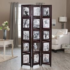 Photo Frame Display Rotating Room Divider 8x10 Frames Double Sided Living Room #FinleyHome #Contemporary