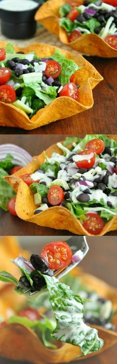 Jazz up your Taco Tuesday with these festive homemade tortilla bowls and a DELISH healthy vegetarian taco salad!