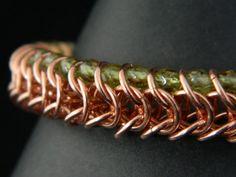 Peridot Chainmaille Bracelet  Genuine by GiraffeJewelleryBox