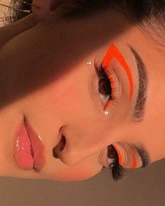 Cute Makeup Looks, Makeup Eye Looks, Eye Makeup Art, Pretty Makeup, Skin Makeup, Beauty Makeup, Orange Eye Makeup, Eyeliner Makeup, Prom Makeup