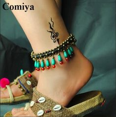 Anklets traditional agate ethnic Anklet stone Twisted string turquoise bell rope water drop bead Chinese wind fashion jewelry www.bernysjewels.com #bernysjewels #jewels #jewelry