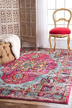 Traditional Area Rug Pink Multi Medallion Design Rugs Vintage Shabby Chic_ 3' x 5'_ $75.36