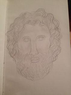Dit is een tekening die ik heb gemaakt van een beeld in het Allard Pierson museum