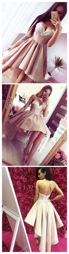 HOT SALE A LINE SWEETHEART HOMECOMING DRESSES CUSTOM MADE HIGH LOW PROM DRESSES ON SALE SKY877 #fashionoutfits