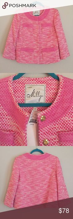 NWT Milly Pink Tweed Jacket Size 6 $540 new with tags Milly pink tweed jacket in a size 6. Excellent, new condition, no flaws. Milly Jackets & Coats