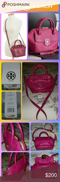 """NWT! Tory Burch Clara mini bag NWT!  Medium-grain leather with contrast edging and golden hardware. Rolled tote handles; 4"""" drop. Removable, adjustable crossbody strap; 22"""" drop; padded handle. Front flap pocket with signature double-""""T"""" logo push-lock clasp. Trapezoidal body. Two-way zip top.Logo jacquard lining; one zip and two open pockets. 7 1/2""""H x 8""""W x 4""""D; bag weight: 1lb 13oz. Tory Burch Bags Mini Bags"""