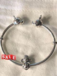 d88ba884e Disney Bracelet, Pandora Open Bangle Bracelet,Steamboat Willie Charm Bead  Gift Set, Authentic