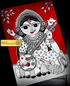 Shinjini`s Art – Indian Folk Art (Madhubani, Kalamkari, Gond) Arte Tribal, Tribal Art, Doodle Art Drawing, Art Drawings, Mandala Art, Paros, Kalamkari Painting, Indian Folk Art, Indian Artist