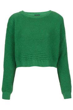 Knitted Textured Crop Jumper, Topshop
