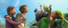 """In the Blue Sky Studios animated film """"Epic"""", human teenager Mary Katherine (M.K.) is shrunk down to a world where Leafmen ride hummingbirds: http://www.dvdizzy.com/epic.html"""