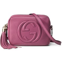 Gucci Soho Leather Disco Bag (35,570 THB) ❤ liked on Polyvore featuring bags, handbags, pink, leather crossbody handbags, pink handbags, purple handbags, leather cross body handbags and pink leather handbag