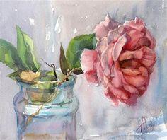 """Rose From the Garden"" - Original Fine Art for Sale - by Anna Tikhomirova"