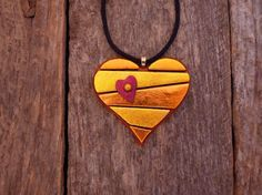 ** Yellow & Orange Dichroic Fused Glass Heart Shaped Pendant Necklace @PureLightStudio