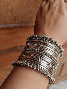 Bangles,Indian Jewelery, traditional Jewelery, oxidised jewelry,bangle set - New Ideas The Bangles, Bridal Bangles, Silver Bangles, Silver Ring, Silver Earrings, Earrings Uk, Fashion Earrings, Bridal Jewelry, Bracelets Design