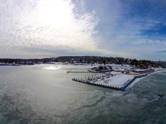 Dering Harbor Co. Shelter Island Aerial Photograph - Shelter Island Yacht Club Winter