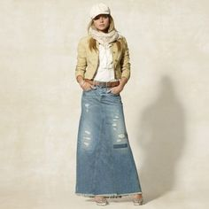 ankle length denim skirts | Shop > Clothing > Skirts > Long Skirts >