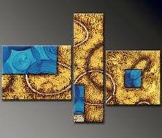 resultado de imagen para cuadros tripticos abstractos azul
