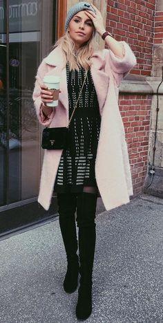 #winter #fashion / Pink Coat + Black Dress