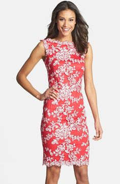 Dress Lou got --Tadashi Shoji Embellished Lace Sheath Dress available at #Nordstrom
