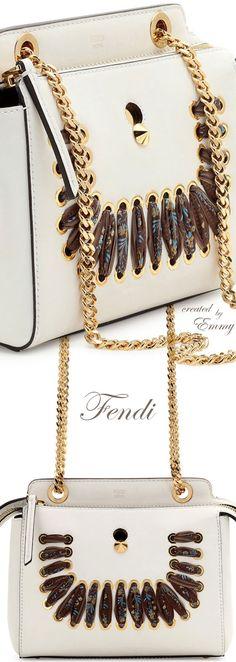 Brilliant Luxury♦Fendi Candy Colours Spring 2017♦Dotcom Ribbon-Laced Shoulder Bag #white