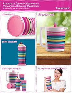 La Practijarra Decoret Mexicana y los vasos para Refresco Mexicanos, le darán vida y color a tu mesa. ¡Son prácticos y duraderos! Lunch Bags, Cool Kitchens, Cool Stuff, Food, Colorful, Vases, Memoirs, Mexicans, Stamps