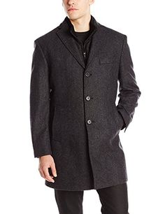 DKNY Men's Derring 35 Inch 3-in-1 Overcoat with Removable Vest