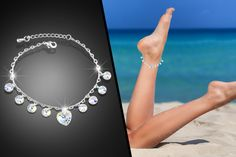 £7 instead of £48 (from Evoked Design) for a crystal drop anklet made with Swarovski Elements - choose from heart, bow, and lock and key designs and save 85%