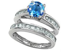 Star K Round Genuine Blue Topaz Wedding Set