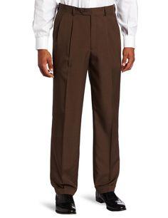 Savane Men's Select Edition Microfiber Pleated Dress Pant, Brown, 36x32