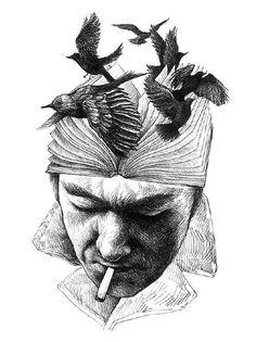 Julio Cortázar por Celeste Ciafarone ϟ Ilustración