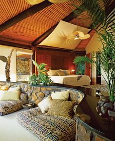 Modern Tropical Hawaiian themed Bedroom - Bedroom : Home Decorating Ideas Hawaiian Bedroom, Hawaiian Home Decor, Tropical Bedroom Decor, Hawaiian Homes, Tropical Bedrooms, Tropical Interior, Modern Tropical, Tropical Decor, Tropical Style
