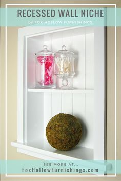 Turn unused wall space into beautiful storage with our recessed wall niches! Handmade from wood and feature one fixed wood shelf and a wainscoting back. Put them in a bathroom to display amenities an entryway to show off your favorite small home décor o Bathroom Renos, Bathroom Ideas, Bathroom Showers, Bathroom Shelves, Bath Ideas, Bathroom Storage, Small Bathroom, Up House, Shabby