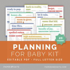 Beautiful and practical!!   Planning for Baby Kit  Editable Pregnancy Planner by paperandoats, $11.00