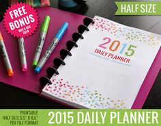 2015 Daily Planner Half Size Calendar Printable by TheNiftyPlanner