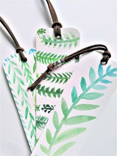 Pin now, shop later! Greenery Watercolor bookmarks on Etsy