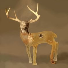 Christina Bothwell , Deer Girl  -  cast glass, raku clay, antlers, and oil paints   28 x 27 x 11 inches