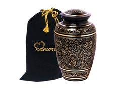 Majestic Radiance Brass Cremation Urn for Human Ashes - Black  #HomeDecor