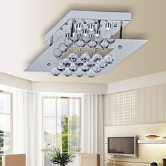 9W LED Ceiling Light with Square Plate in Crystal Beaded Design – LightSuperDeal.com