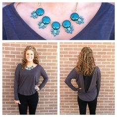 Get your perfect fall look here! Long loose grey shirt paired with black skinny pants and a green and gold necklace to add some color! Black Skinny Pants, Grey Shirt, Fall Looks, Green And Gold, You Got This, Gold Necklace, Color, Black Skinnies, Gray Shirt
