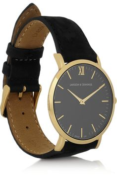 Larsson & Jennings|Läder suede and gold-plated watch|NET-A-PORTER.COM