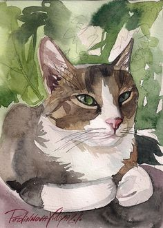 Print of the Original Watercolor Painting Tabby Cat Kitty Kitten Grey Brown Stripped Cute By Yuliya Podlinnova
