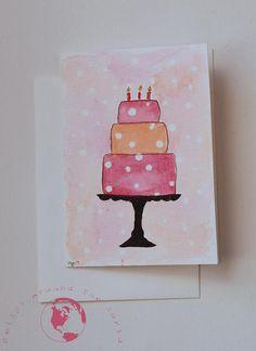 Carte de voeux pour le gâteau d'anniversaire aquarelle de peint à la main Papier carte de voeux aquarelle Strathmore avec enveloppe Faire-part de taille mesure 3 1/2 X 4 7/8