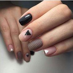 Geometric nail art design  #blacknails #pinknails #black #pink