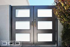 Modern Architectural Entry Gate With Chrome Handle & Steel Framed Frosted Glass! modern