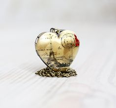 Paris heart locket necklace