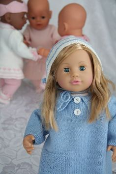 knitting patterns for dolls, - lovely, warm dress in blue for my dear doll Annette