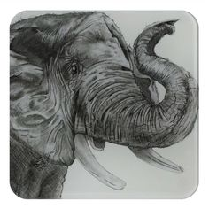 Elephant Glass Coaster by British artist Sarah Boddy. Features a beautiful illustration of a chimp on our hardwearing recycled glass coaster. The lovely black and white artwork makes it a striking addition to any home! Swinging Safari, Black And White Artwork, Great Gifts For Dad, Glass Coasters, Animal Decor, Safari Animals, Recycled Glass, Zebras, Animal Design